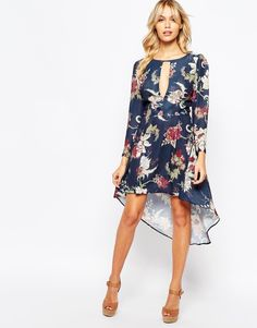 Love High Low Print Dress with Plunge Front