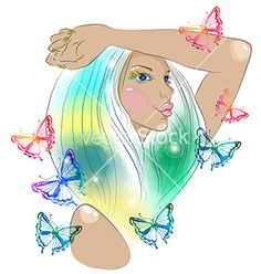 Hand drawn beautiful woman with butterfly vector 2524316 - by Elmiko on VectorStock®