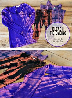 Tie Dye Clothing with Bleach via lilblueboo.com -- this would be cool on a dark purple maxi skirt with the sideways sun/circle/starburst coming from the side