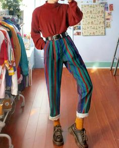 Fashion Dark Vertical Stripes Straight Trousers - Informations About Fashion Dark Vertical Stripes Straight Trousers Pin You can easily use my profil - Outfits 90s, Mode Outfits, Retro Outfits, Grunge Outfits, Vintage Outfits, Fashion Outfits, 80s Inspired Outfits, Grunge Clothes, Casual Clothes