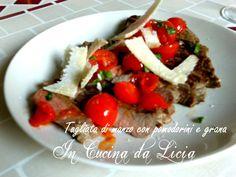 Tagliata di manzo con pomodorini e grana http://blog.giallozafferano.it/incucinadalicia/tagliata-di-manzo-con-pomodorini-e-grana/