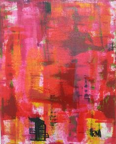 Red - ORIGINAL Abstract Art Painting on Canvas Regia Marinho. Colorful Decor #Modernism