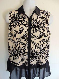 Womans CLEO Black & Ivory Lace Chiffon Pretty Summer Blouse Shirt Top Size LARGE