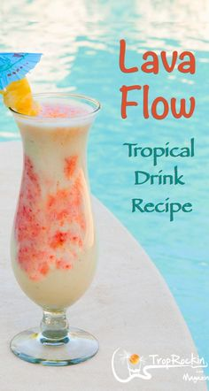 A tasty beach cocktail! It's a Pina Colada with added ingredients. Fresh and tastes just like your on an island vacation. tropical drink How To Make a Lava Flow Drink (Rum Drink Beach Cocktails, Frozen Cocktails, Summer Drinks, Cocktail Drinks, Cocktail Recipes, Frozen Mixed Drinks, Bourbon Drinks, Mix Drinks, Vodka Cocktails