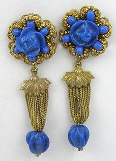 Miriam Haskell blu orecchini di vetro - Garden Party Collection monili dell'annata