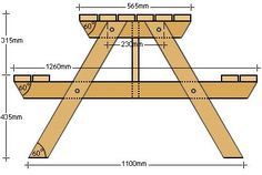 Free building plans for a wooden garden table with benches, picnic table style. - Free building plans for a wooden garden table with benches, picnic table style. Build A Picnic Table, Wooden Picnic Tables, Bbq Table, Kids Picnic Table Plans, Easy Table, Wooden Garden Table, Bench Plans, Wood Plans, Seating Plans