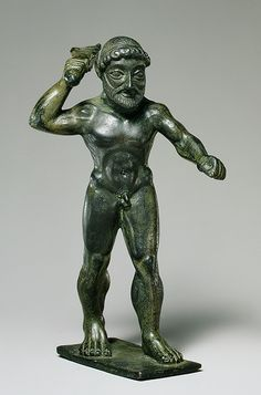 Statuette of Herakles, ca. 6th century B.C.  This bronze statue of the legendary hero Herakles is an example of the use of mythical themes in the artwork of the Archaic Period. This piece may have been intended as a votive offering in a temple or shrine.     Source: Metropolitan Museum of Art
