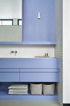 perriwinkle blue modern bathroom as only Fiona Lynch can do | Williamstown House