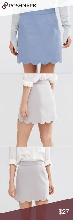 """🎇DOTD🎇ASOS A-line Mini Skirt w/Scallop Hem Woven fabric, Mid-rise waist band, Scallop hem, Mini length, side zipper.  Color is a neutral brown. Excellent condition never worn  18"""" from top of waist band to bottom of skirt. Fits more like a size 10. Checkout the size chart picture for size measurements. Lining: 100% polyester Main: 74% polyester 20% viscose 6% elastase 💃Bundle with the other scallop skirt and save 20% 🚭non smoking home ASOS Skirts Mini"""