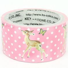 Masking deco tape - Lovely deers and butterlies polka dots (Pink) on Etsy.