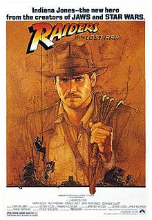 Raiders of the Lost Ark - directed by Steven Spielberg - starring Harrison Ford and Karen Allen.