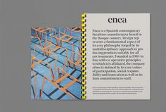 Logotype, business cards, catalogue and art direction for furniture design and manufacturing business Enea by Clase bcn. Opinion by Richard Baird Graphic Design Layouts, Graphic Design Projects, Layout Design, Print Design, Book Binding Design, Book Design, Typography Layout, Typography Prints, Editorial Layout