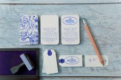 Stamped business card with a vintage and antique feel.