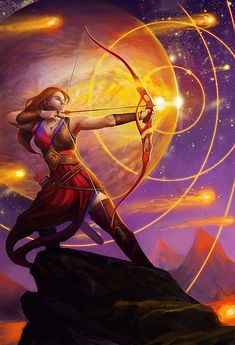 Julie Dillon (born in is an American artist living and working in Northern California specializing in science fiction and fantasy art. Full Moon In Sagittarius, Sagittarius Art, Fantasy Women, Fantasy Girl, Astrology Calendar, Galactic Center, Zodiac Art, Fantasy Characters, Digital Illustration