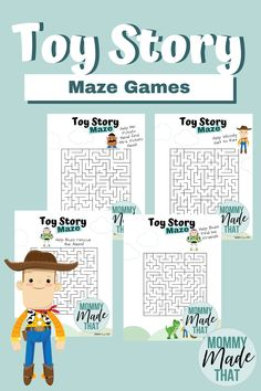 Fun Toy Story Printable Maze Games Looking for a fun way to incorporate more toy story activities into your kids day? How about trying a few of these fun free Toy Story Printable Maze games? These are fun, easy and make Printable Games For Kids, Printable Mazes, Disney Printables, Free Printable, Fête Toy Story, Toy Story Crafts, Toy Story Party, Movie Crafts, Birthday Party Games For Kids