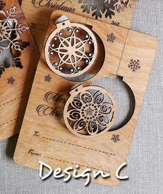 Multiple uses Wooden Christmas Card Design C - Laser Cut & Engrave