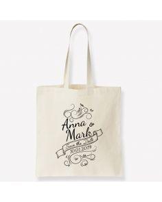 """Annoncez votre mariage de manière unique avec le tote bag """"Vintage"""", personnalisable avec les prénoms des mariés et la date du mariage. Date, Reusable Tote Bags, Vintage, Wedding Ideas, Unique Weddings, Quirky Wedding"""