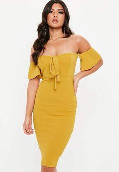 31ddfe54dd48 Missguided Mustard Yellow Tie Front Bardot Midi Dress Club Fashion