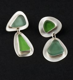 Glass Shard earrings in beach glass & sterling silver by Kathleen Faulkner