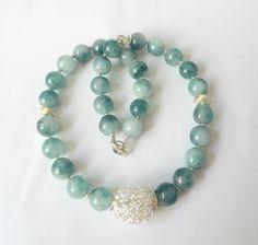 Bloom Jade-Kette Collier hellgrün-silber von soschoen auf DaWanda.com