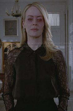 Cordelia's black lace sleeve collared shirt on American Horror Story.  Outfit Details: https://wornontv.net/26618/ #AmericanHorrorStory