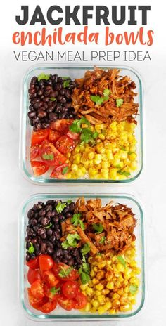 These Vegan Jackfruit Enchilada Bowls are for the meal prepper who wants an easy, healthy and most importantly FLAVORFUL lunch!