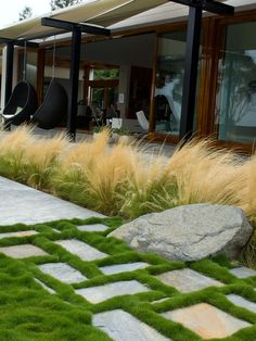 """Love that green smooth velvet grass on the path and the feather like tall grass as well. -- """"The low grass is Korean Velvet grass The tall grass in Mexican Feather grass"""" -- Grounded - Modern Landscape Architecture contemporary exterior Zoysia tenuifolia? Modern Landscape Design, Contemporary Landscape, Landscape Architecture, Creative Landscape, Contemporary Architecture, Architecture Design, Design Jardin, Garden Design, Patio Design"""