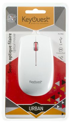 Packaging Souris filaire URBAN blanc/rouge - KeyOuest. http://www.keyouest-mobility.com/produits/souris-filaire-urban-keyouest-2/