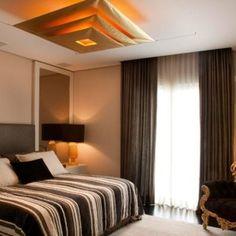 quartos de casal decorados com colcha listrada