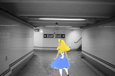 Disney characters superimposed onto urban scenes by Harry McNally