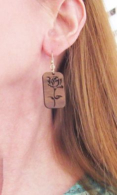 Wooden Rose Earrings Wooden Earrings Laser by wearablewoodjewels