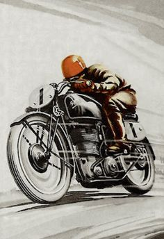vintage motorcycle world cafe racer poster lady - Google Search