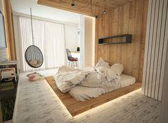 Cool Indirekte Beleuchtung unter dem Podest aus Holz