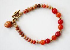 Peachy Bracelet Holiday Gift Idea Peach by JustforJoyCreations, $18.00