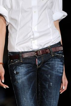 Dsquared² | Dark jeans, Crisp white shirt, Brown leather belt. YES. |=