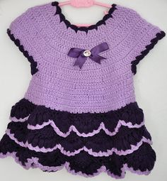 Crocheted Baby Girl Dress in Lavender and by KnittingbyDOGAART, $35.00