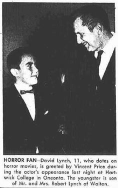 1957: 11-year-old David Lynch with Vincent Price