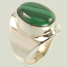 Handmade Ring Size US 9.25 Natural MALACHITE Gemstone 925 Solid Sterling Silver #Unbranded