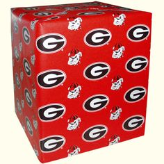 University of Georgia red gift wrap with repeating Georgia G and Bulldog Head logo. 20sq ft.