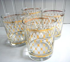 Vintage Georges Briard Glasses / Cocktail by mamiezvintage on Etsy, $44.00