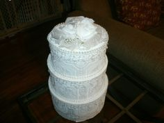 Mske your own wedding-cake card box to have a safe and beautiful place to store all the cards you'll get at your reception.  Don't spend tons of money on a card box.  DIY it and make your own!