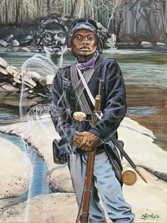 """Female Buffalo Soldier"" by John Jones.  This art print is supposed to be the legendary Cathay Williams, the only female Buffalo Soldier."