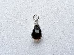 Smoky quartz charm, smoky quartz silver charm, brown charm, interchangeable charm, removable charm, smoky quartz pendant, gemstone charm
