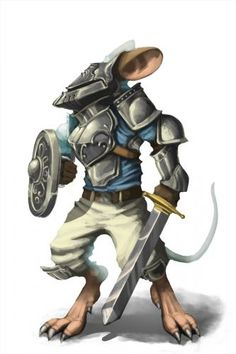 Knight Mouse: so adorable! Looks like the next step after one watches Zootopia :-D Fantasy Races, Fantasy Warrior, Fantasy Rpg, Medieval Fantasy, Fantasy Artwork, Male Character, Character Portraits, Character Concept, Character Design