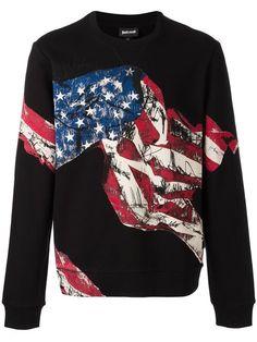 JUST CAVALLI American Flag Printed Sweatshirt. #justcavalli #cloth #sweatshirt
