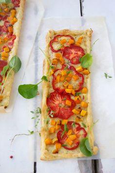 lemonfirebrigade.com  Sweet pepper and butternut squash gruyere tarts