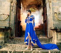 Royal Blue Georgette Designer Anarkali Suit 58937