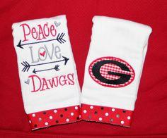Peace Love Dawgs  Georgia Burp Cloth Set with by BebesStitches