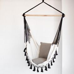hanging hammock chair sand chairs for the beach 418 best images hammocks soho deluxe cream with black tassels accessories indoor bed