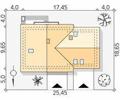 Projekt domu Wolta - usytuowanie na działce Design Case, Bungalows, Sliders, House Plans, Sweet Home, Floor Plans, House Design, How To Plan, Houses